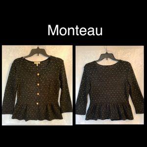 Cute Monteau Dark Gray & Gold Cardigan size Medium